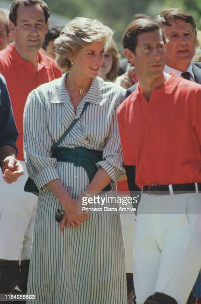 Prince Charles and Diana Princess of Wales during a polo match at Werribee Park in Victoria Australia November 1985 Diana is wearing a necklace with...