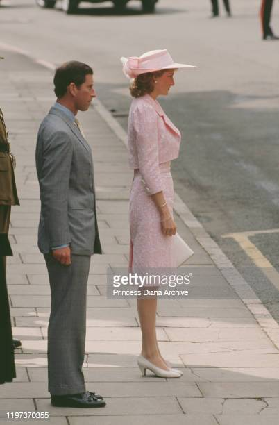 Prince Charles and Diana, Princess of Wales during a visit to Northampton to receive the Freedom of the City, UK, June 1989. Diana is wearing a pink...