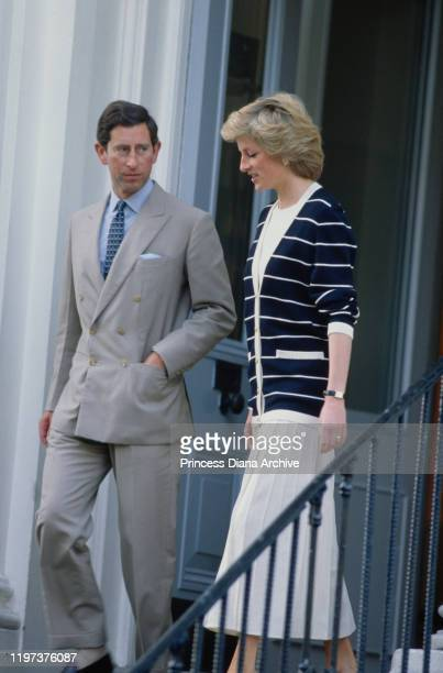 Prince Charles and Diana, Princess of Wales leave after bringing their son Prince William to Wetherby School in London for the start of his new term,...