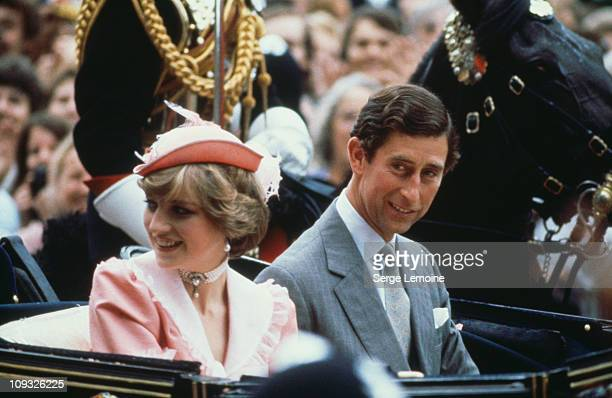 Prince Charles and Diana Princess of Wales leave Buckingham Palace for their honeymoon after their wedding London 29th July 1981