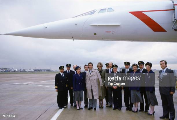Prince Charles and Diana Princess of Wales meet a concorde crew at Heathrow Airport after a trip to Vienna.