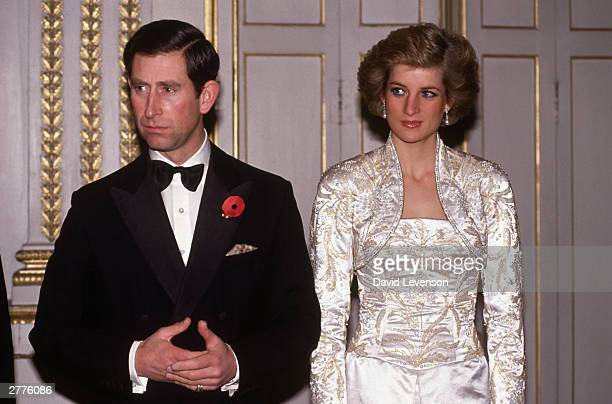 Prince Charles and Diana Princess of Wales meet guests arriving at a dinner in the Elysee Palace in Paris France in November 1988 during the Royal...