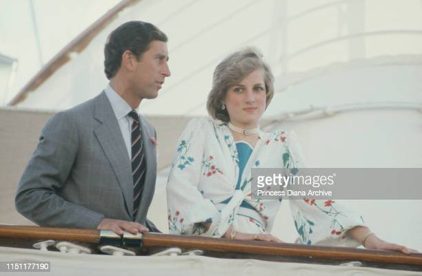 Prince Charles and Diana Princess of Wales on board the Royal Yacht Britannia in Gibraltar at the start of their honeymoon cruise August 1981 She is...
