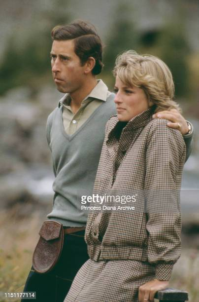 Prince Charles and Diana, Princess of Wales on the banks of the River Dee in Balmoral, Scotland, at the end of their honeymoon, September 1981. She...