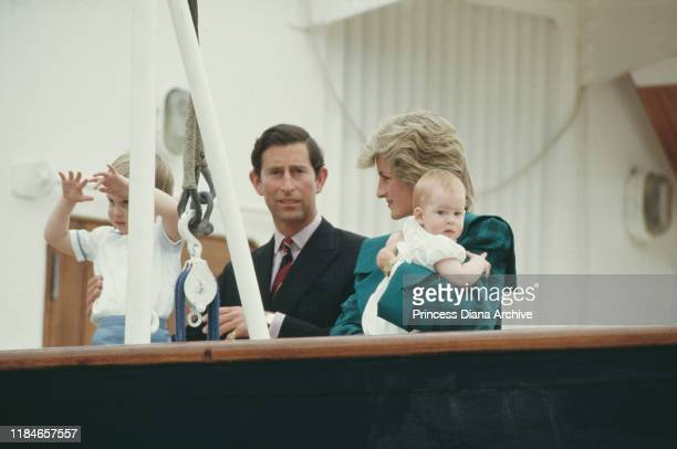 Prince Charles and Diana, Princess of Wales on the royal yacht 'Britannia' with their sons William and Harry during a visit to Venice, Italy, April...