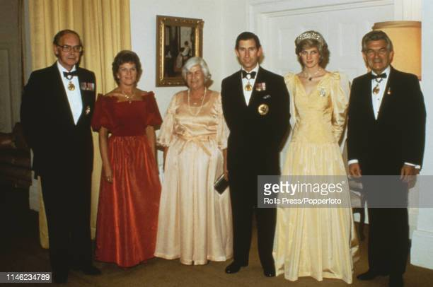 Prince Charles and Diana Princess of Wales pictured with Prime Minister of Australia Bob Hawke and guests at an official engagement in Canberra...