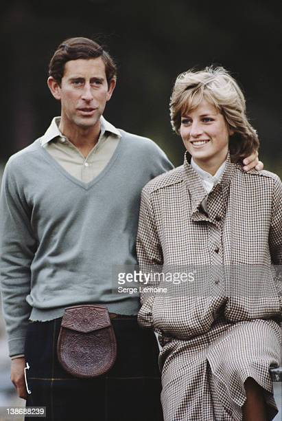 Prince Charles and Diana Princess of Wales pose together during their honeymoon in Balmoral Scotland 19th August 1981