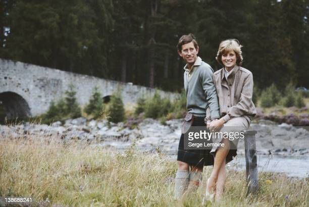 Prince Charles and Diana, Princess of Wales pose together during their honeymoon in Balmoral, Scotland, 19th August 1981.