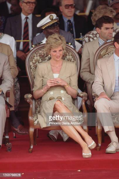 Prince Charles and Diana, Princess of Wales visit Bamenda Electrification Plant in Cameroon, March 1990. Diana is wearing a beige dress by Catherine...