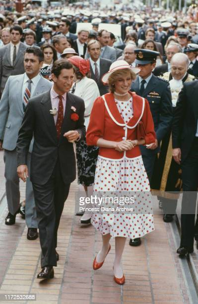 Prince Charles and Diana, Princess of Wales visit Bourke Street Mall in Melbourne, Australia, 14th April 1983. Diana is wearing a red and white...