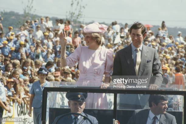 Prince Charles and Diana, Princess of Wales visit Newcastle, during their tour of Australia, March 1983. Diana is wearing a pink Catherine Walker...