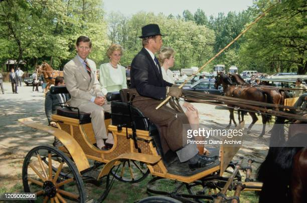 Prince Charles and Diana Princess of Wales visit the Bugac puszta in the Kiskunsag National Park Hungary May 1990 Diana is wearing a pale green dress...