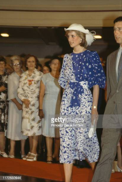 Prince Charles and Diana, Princess of Wales visit the City Hall in Brisbane, Australia, 11th April 1983. Diana is wearing a Donald Campbell dress and...