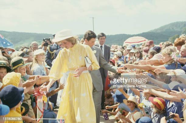 Prince Charles and Diana, Princess of Wales visit the Ginger Factory in Yandina, Queensland, Australia, 12th April 1983. Diana is wearing a yellow...