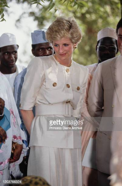 Prince Charles and Diana, Princess of Wales visit the Molai Centre, a leprosy hospital and rehabilitation village in Maiduguri, Nigeria, March 1990....