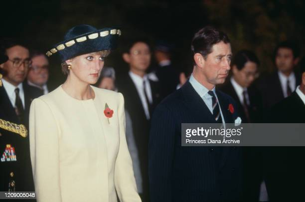 Prince Charles and Diana Princess of Wales visit the National Cemetery in Seoul South Korea 2nd November 1992