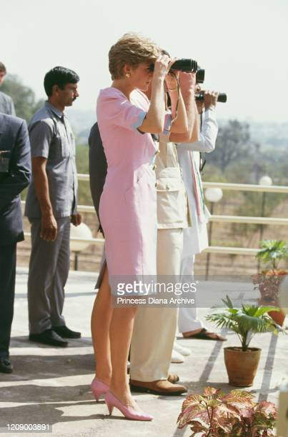 Prince Charles and Diana, Princess of Wales visit the Qutbi Shahi tomb in Hyderabad, India, 15th February 1992. Diana is wearing a pink dress by...