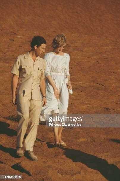 Prince Charles and Diana, Princess of Wales visit Uluru or Ayers Rock in Australia, March 1983.
