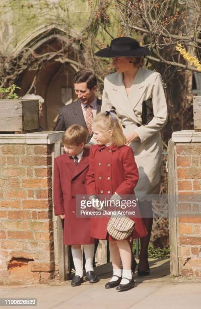 Prince Charles and Diana Princess of Wales with Prince William and Lady Zara Phillips after an Easter service at St George's Chapel Windsor England...