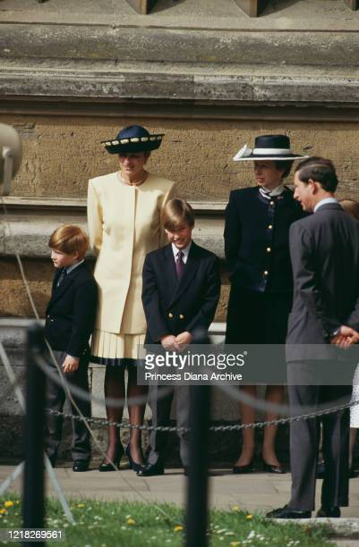 Prince Charles and Diana Princess of Wales with their sons Prince Harry and Prince William and Princess Anne outside St George's Chapel Windsor at...