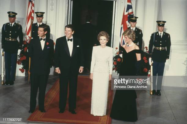 Prince Charles and Diana, Princess of Wales with US President Ronald Reagan and First Lady Nancy Reagan during a ball at the White House in...