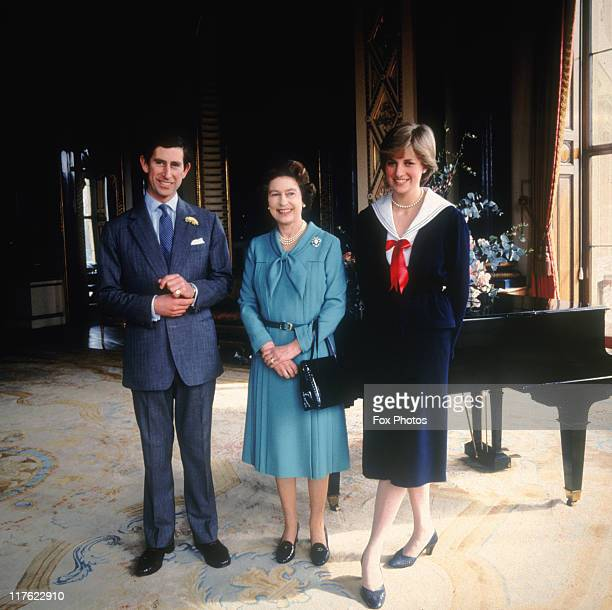 Prince Charles and his fiancee Lady Diana Spencer with Queen Elizabeth II at Buckingham Palace 7th March 1981 On July 1st Diana Princess Of Wales...