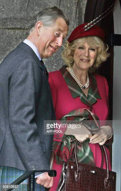 Prince Charles and his new wife Camilla at Crathie Parish Church in Aberdeenshire 10 April 2005 in their first public engagement since becoming...