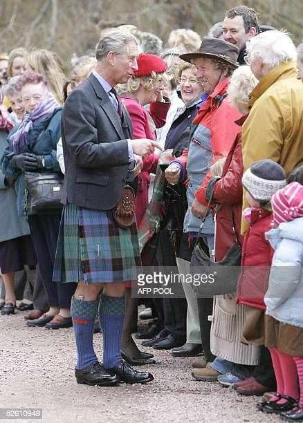Prince Charles and his new wife Camilla meet wellwishers at Crathie Parish Church in Aberdeenshire 10 April 2005 in their first public engagement...