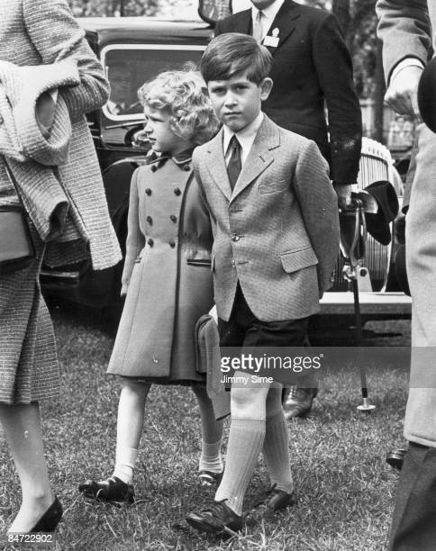 Prince Charles and his sister Princess Anne at the Royal Windsor Horse Show, 12th May 1958.