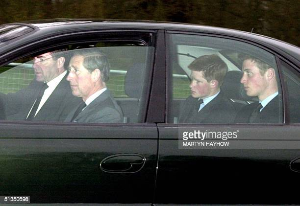 Prince Charles and his two sons Harry and William leave the Chapel Royal at Windsor Park 31 March 2002 after paying their respects to Queen Elizabeth...