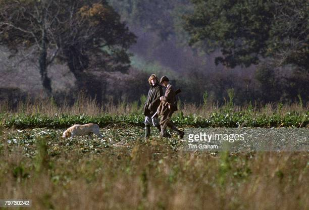 Prince Charles and his wife Diana Princess of Wales out shooting at Sandringham Norfolk 14th November 1981