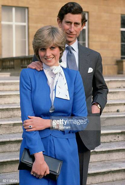 Prince Charles And Lady Diana Spencer At Buckingham Palace On The Day Of Announcing Their Engagement
