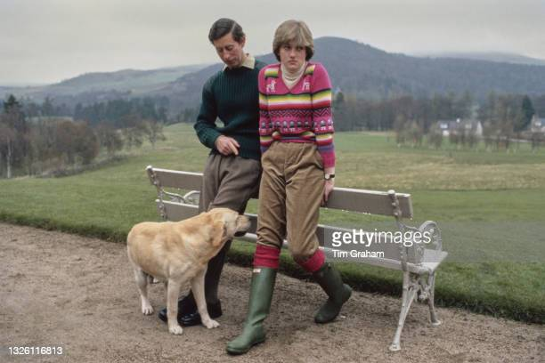 Prince Charles and Lady Diana Spencer hold a photocall with their dog Harvey at Craigowan Lodge in Balmoral, Scotland, 6th May 1981. This was their...
