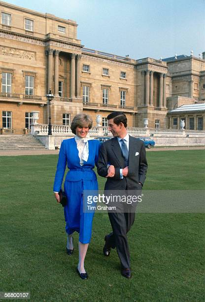 Prince Charles and Lady Diana Spencer in the gardens of Buckingham Palace on the day of announcing their engagement
