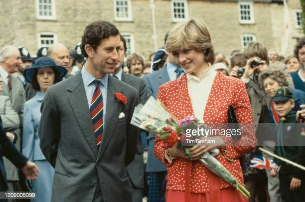 Prince Charles and Lady Diana Spencer later Diana Princess of Wales visit Tetbury in Gloucestershire a few weeks before their wedding 22nd May 1981