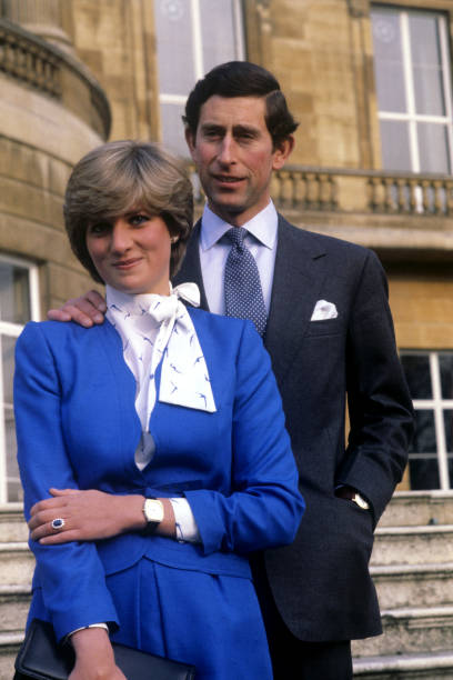 Prince Charles And Lady Diana Spencer Wearing The Diamond Sapphire Engagement Ring He Gave