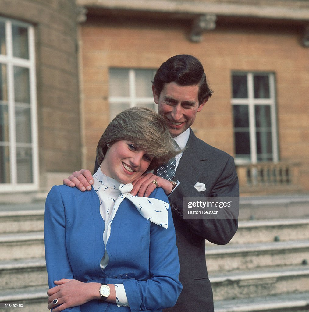Prince Charles And Lady Diana Spencer Pose For Photographers At Buckingham Palace After The Announcement Of