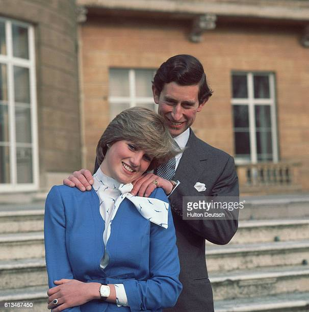 Prince Charles and Lady Diana Spencer pose for photographers at Buckingham Palace after the announcement of their engagement