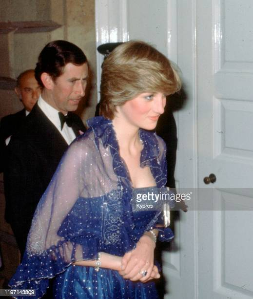 Prince Charles and Lady Diana Spencer , soon to be the Princess of Wales, attend a function at the Royal Academy in London, 23rd June 1981. She is...