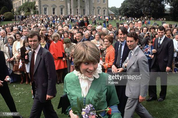 Prince Charles and Lady Diana Spencer visit Broadlands shortly after their engagement, March 1981.