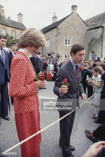 Prince Charles and Lady Diana Spencer visit the town of Tetbury in Gloucestershire shortly after their engagement 22nd May 1981 The princess is...