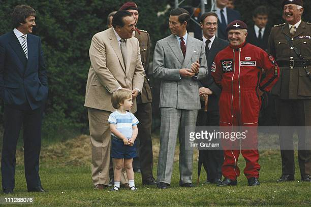 Prince Charles and newspaper publisher Robert Maxwell in the gardens of Kensington Palace London 23rd May 1985 They are with the Commander of the...