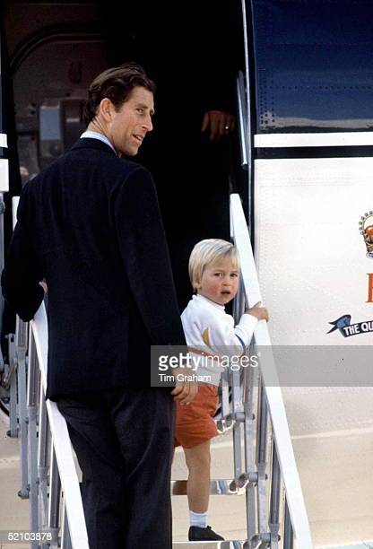 Prince Charles And Prince William Boarding The Royal Flight At Aberdeen Airport