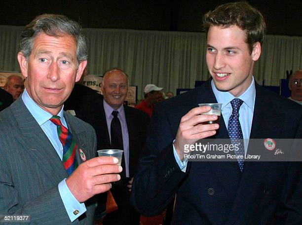 Prince Charles And Prince William Drinking Beer At The Anglesey Food Fair At The Anglesey Agricultural Showground Part Of Prince William's 21st...
