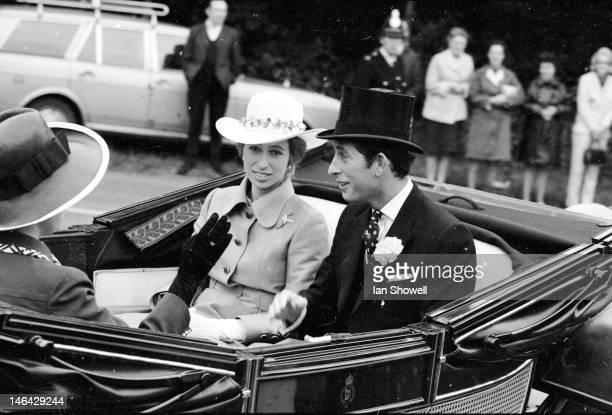 Prince Charles and Princess Anne arrive for the second day of Royal Ascot 21st June 1972