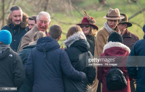 Prince Charles and Princess Anne arrive to attend a morning church service at St Mary Magdalene Church in Sandringham Norfolk