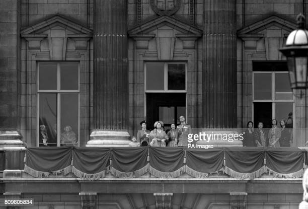 Prince Charles and Princess Anne join the Queen Queen Mother Princess Margaret and the Duke of Edinburgh in watching the flypast by jet fighter...