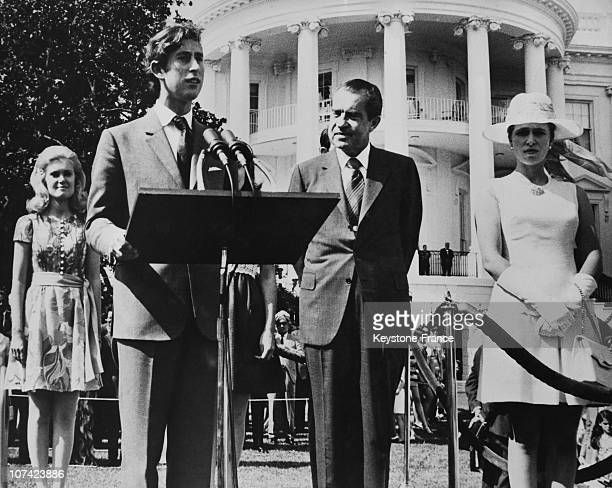 Prince Charles And Princess Anne Received By President Richard Nixon At White House In Washington On July 18Th 1970
