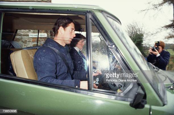 Prince Charles and Princess Diana arrive at race horse trainer Nick Gaselee's stables at Lambourne Berkshire March 1981