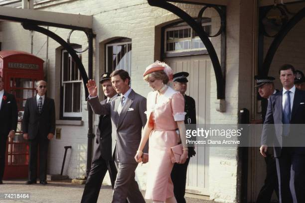 Prince Charles and Princess Diana arrive at Romsey Station before their honeymoon trip to Gibraltar on the Royal Yacht Brittania July 1981